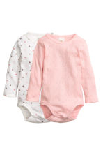 2-pack long-sleeved bodysuits - White/Heart - Kids | H&M CN 1