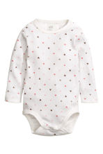 2-pack long-sleeved bodysuits - White/Heart - Kids | H&M CN 2