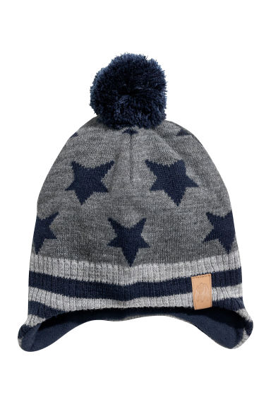 Hat with earflaps - Dark grey/Stars - Kids | H&M CN 1