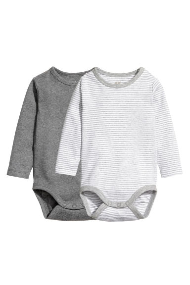 2-pack long-sleeved bodysuits - Dark grey marl - Kids | H&M GB 1