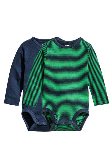 2-pack long-sleeved bodysuits - Green/Striped -  | H&M CN 1