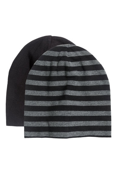 2-pack jersey hats - Black - Kids | H&M CN 1