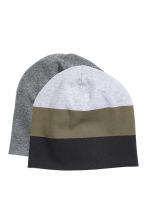 2-pack jersey hats - Dark grey marl - Kids | H&M CN 1