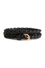 Braided leather belt - Black - Ladies | H&M 1