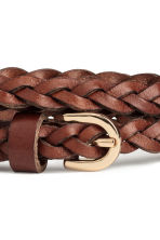 Braided leather belt - Dark brown - Ladies | H&M CN 3