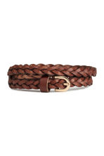 Braided leather belt - Dark brown - Ladies | H&M CN 1