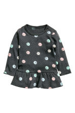 Flounced top - Dark grey/Spotted - Kids | H&M CN 1