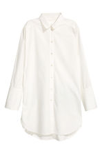 Long cotton shirt - White - Ladies | H&M CN 2
