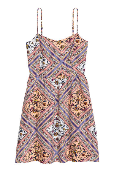 Short strappy dress - Apricot/Patterned - Ladies | H&M CN 1