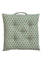 Patterned seat cushion - Natural white/Moss green - Home All | H&M CN 2