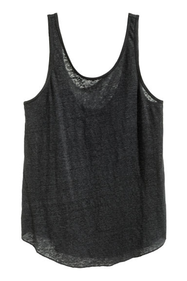 Linen vest top - Black - Ladies | H&M CN