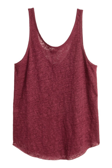 Linen vest top - Burgundy - Ladies | H&M CN 1