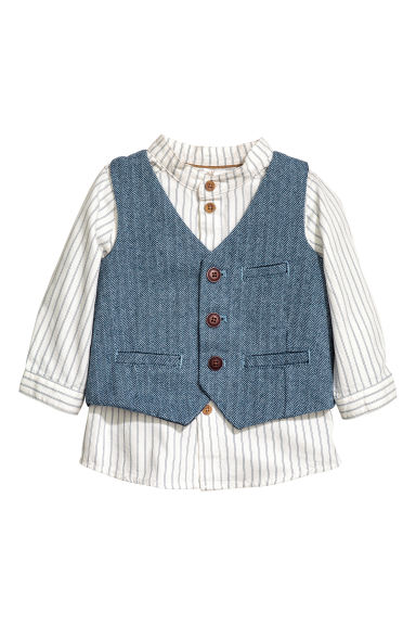 Shirt and waistcoat - White/Blue - Kids | H&M CN 1