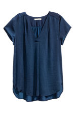 Satin blouse - Dark blue - Ladies | H&M CN 1