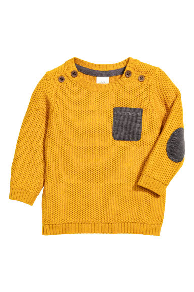 Textured-knit jumper - Mustard yellow - Kids | H&M CN 1