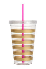 Plastic cup with a straw - Gold/Striped - Ladies | H&M CN 1
