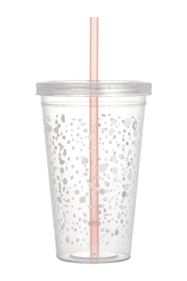 Plastic cup with a straw - White/Patterned - Ladies | H&M GB 1