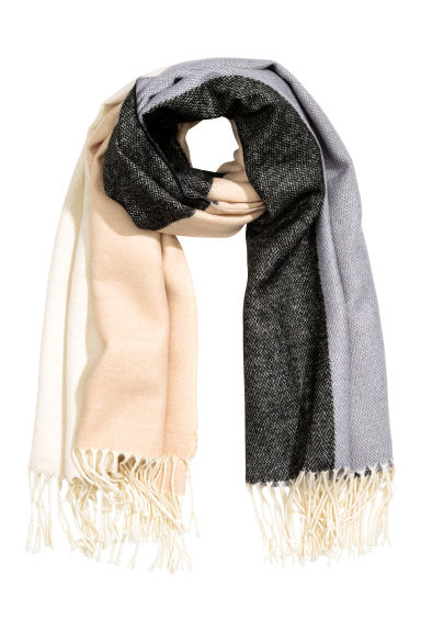 Block-patterned scarf - Light beige - Ladies | H&M CN 1