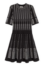 Jacquard-knit dress - Black/White/Patterned - Ladies | H&M CN 2