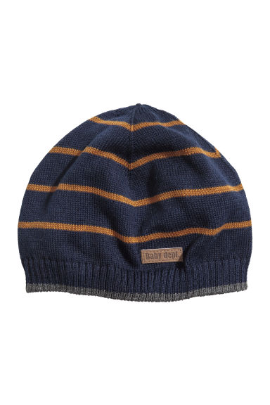 Knitted hat - Dark blue/Striped - Kids | H&M CN 1