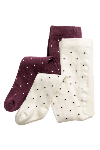 2-pack tights - Burgundy/Spotted - Kids | H&M CN 1