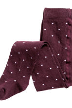 2-pack tights - Burgundy/Spotted - Kids | H&M CN 3