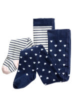 2-pack tights - White/Dark blue/Striped - Kids | H&M CN 1