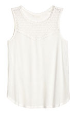 Vest top with lace - White - Ladies | H&M CN 2