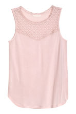 Vest top with lace - Powder pink - Ladies | H&M CN 1