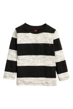 Long-sleeved T-shirt - Black/Striped - Kids | H&M CN 2