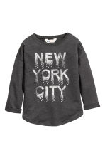 Sweatshirt with a motif - Dark grey/New York - Kids | H&M CN 2