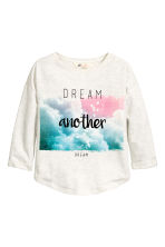 Sweatshirt with a motif - Light beige marl - Kids | H&M CN 2