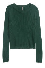 Rib-knit jumper - Emerald green - Ladies | H&M CN 2