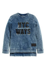 Printed sweatshirt - Dark blue washed out -  | H&M CN 2