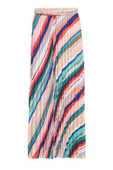 Pleated chiffon skirt - Multistriped - Ladies | H&M GB