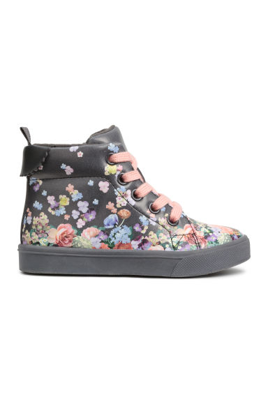 Hi-top trainers - Dark grey/Floral - Kids | H&M CN 1