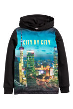 Printed hooded top - Black/City - Kids | H&M CN 2