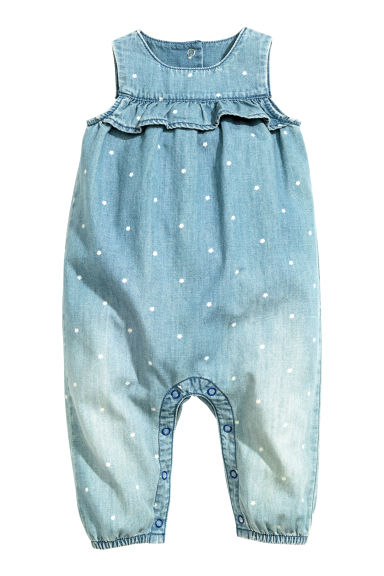 Denim romper suit - Denim blue - Kids | H&M CN 1