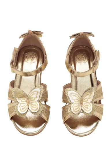 Shimmering sandals - Gold -  | H&M CN 1
