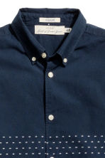 Short-sleeved cotton shirt - Dark blue/Woven texture - Men | H&M CN 3