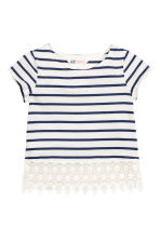 Top with lace - Dark blue/Striped -  | H&M CN 2