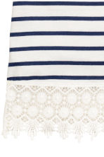 Top with lace - Dark blue/Striped -  | H&M CN 3