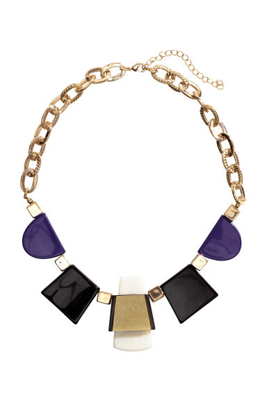Short necklace - Dark blue/Gold - Ladies | H&M CN 1