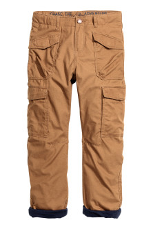 Lined cargo trousers