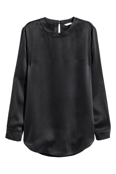 Silk blouse - Dark grey - Ladies | H&M CN