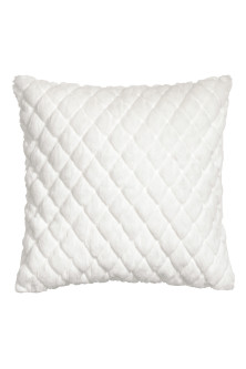 Quilted faux fur cushion cover