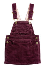 Corduroy dungaree dress - Burgundy - Kids | H&M CN 2