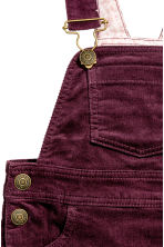 Corduroy dungaree dress - Burgundy - Kids | H&M CN 3