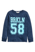 Printed jersey top - Dark blue/Brooklyn - Kids | H&M CN 2