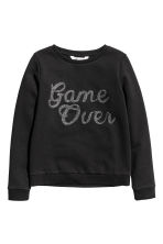Sweatshirt with a motif - Black -  | H&M CN 2